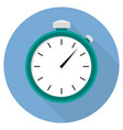 stopwatch icon flat design long shadow blue circle vector image vector image