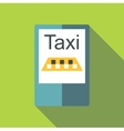 Taxi app in phone icon flat style vector image vector image