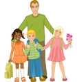 Teacher with group of children vector image vector image
