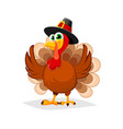 thanksgiving day funny cartoon character turkey vector image vector image