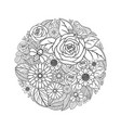 tropical flower drawing black and white design vector image vector image