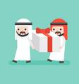 two arab businessman carrying big present box vector image vector image
