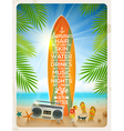 vintage surfboard with summer saying vector image