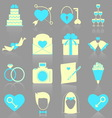 Wedding icons with reflect on gray background vector image vector image
