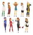 women of different professions set doctor police vector image vector image