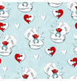 wedding seamless pattern with line icons on white vector image
