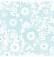 Blue fabric texture garden silhouettes seamless vector image