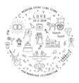 WEDDING LINE ICONS COLLECTION vector image