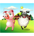 A pig and a sheep dancing at the farm with a vector image