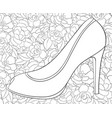 adult coloring book a cute shoe with high heel on vector image