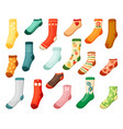 adults and kids colored socks set warm green vector image vector image