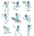 alien character astronaut in space working vector image