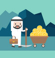 arab businessman hold a pickaxe with bitcoin in vector image vector image