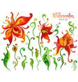Beautiful Watercolor fantasy flower set over white vector image vector image