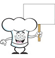 Cartoon chef hat holding a sign