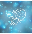 christmas angel on blurred backround vector image vector image