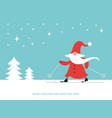 christmas card with cute gnome ski happy new year vector image vector image