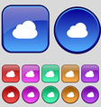 Cloud icon sign A set of twelve vintage buttons vector image vector image