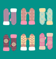 collection of different knitted winter mittens vector image vector image