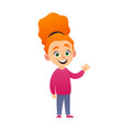 cute little redhead girl standing and waving hand vector image vector image