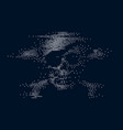 digital skull and crossbones on binary code vector image