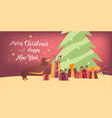 dog and gifts near the christmas tree banner vector image vector image