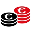 Euro coin stacks icon vector image vector image