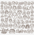 faces of people - doodle set vector image vector image