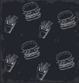 fast food background icons vector image vector image