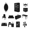 furniture and interior black icons in set vector image