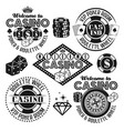 gambling and casino black emblems elements vector image vector image