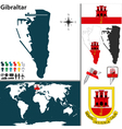 Gibraltar map world vector image vector image