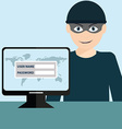 Hacker stealing sensitive data as passwords from a vector image