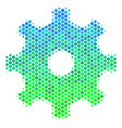 halftone blue-green gear icon vector image vector image
