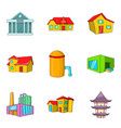 hall icons set cartoon style vector image vector image