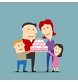 happy family celebrating with big cake vector image vector image