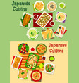 japanese cuisine icon set for asian food design vector image vector image