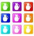 jug of milk icons 9 set vector image vector image