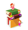 kids climbing in stack of books vector image vector image