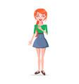 laughing young woman cartoon flat character vector image vector image