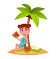 little girl eating watermelon under palm at beach vector image vector image