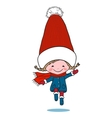 Little jumping girl in big winter knitted cap vector image vector image