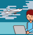 logistic operator working laptop plane flying vector image vector image