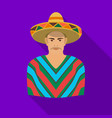 mexican man in sombrero and poncho icon in flat vector image