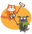 Monopod Selfie with cartoon animals vector image