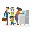 multicultural people standing in a queue to atm vector image vector image