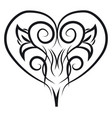 ornament heart hand drawn design on white vector image vector image