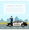 Police on the road Banner8 vector image vector image