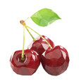 polygonal cherry in low poly style cherry vector image vector image