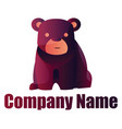 purple bear logo design on white background vector image vector image
